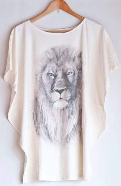 'Lion painting' top - free size