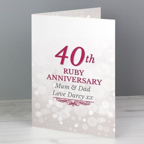40th Ruby Anniversary Card