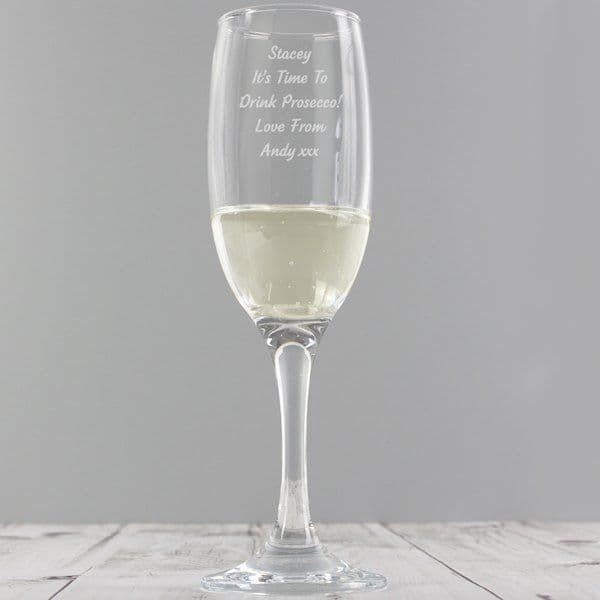 Personalised Any Message Prosecco Flute - Ideal gift for Birthdays, Mother's Day, Engagement, Hen Parties, Weddings, Anniversaries.
