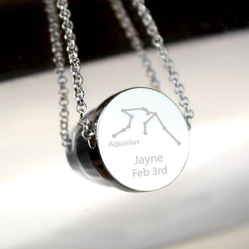 Aquarius Zodiac Star Sign Silver Tone Necklace (January 20th - February 18th)