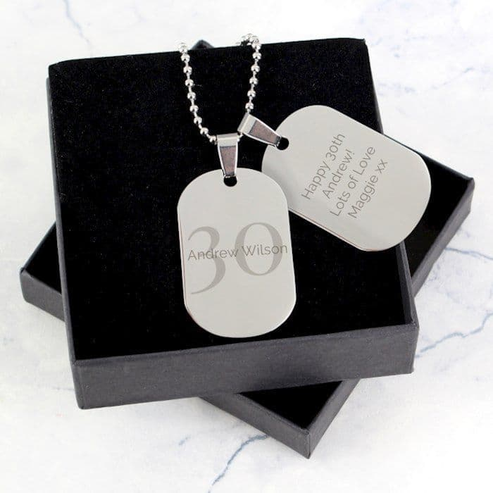 Personalised Big Age Stainless Steel Double Dog Tag Necklace - Ideal Birthday for that special man in your life - 18, 21, 30, 40, 50