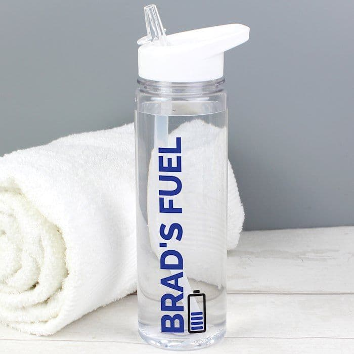Personalised Blue Fuel Island Water Bottle - ideal gift for back to school, gym