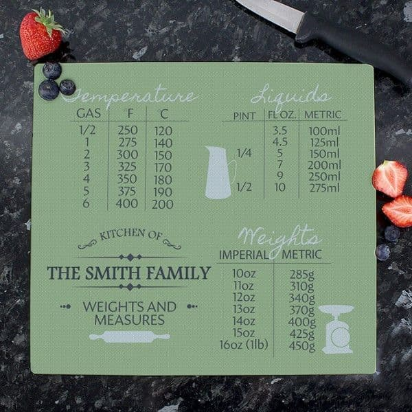 Personalised Conversions Glass Chopping Board/Worktop Saver - Ideal for New Home, Birthdays, Christmas, Mother's Day, Father's Day, Valentines.