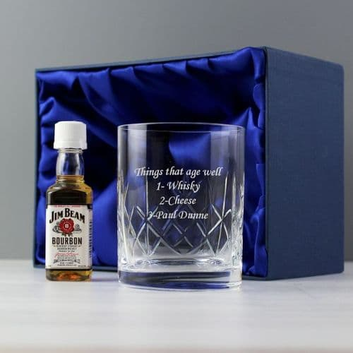 Crystal Glass & Bourbon Whisky Miniature Set