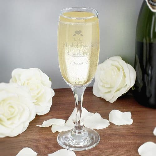 Decorative Wedding Maid of Honour Glass Flute