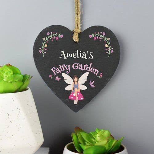 Fairy Garden Slate Heart Decoration