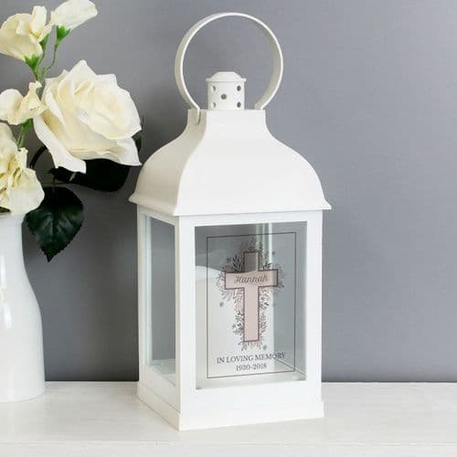 Floral Cross White Lantern