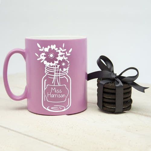Flowers For My Teacher Matte Coloured Mug (choice of colour)