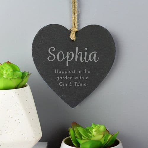 Free Text Slate Heart Decoration