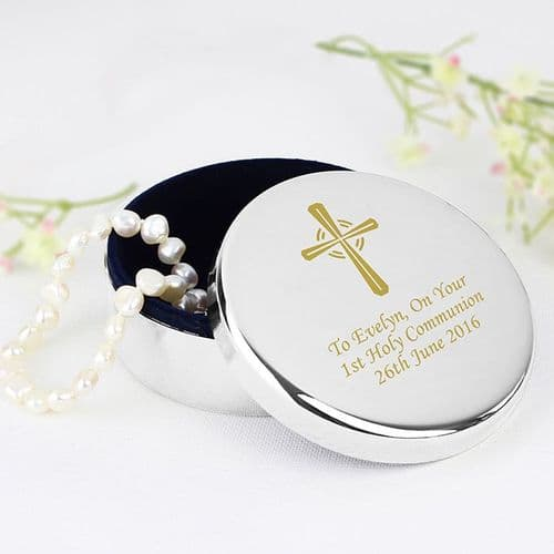 Gold Cross Trinket Box - Ideal For Rosary Beads