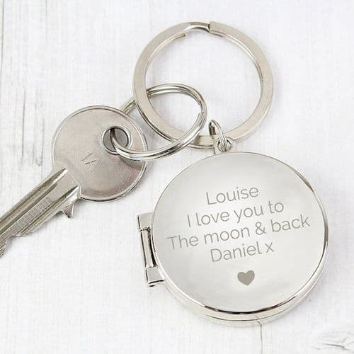 Heart Motif Round Photo Keyring