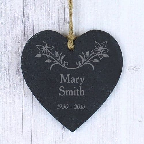 In Loving Memory Floral Slate Heart Decoration