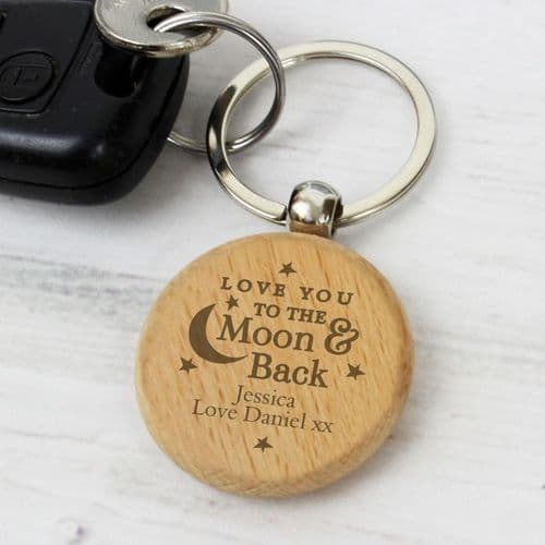 Moon & Back Wooden Keyring