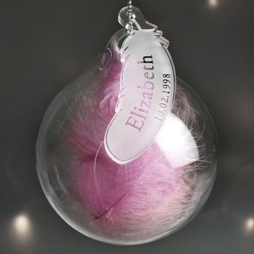 Name & Date Pink Feather Glass Bauble