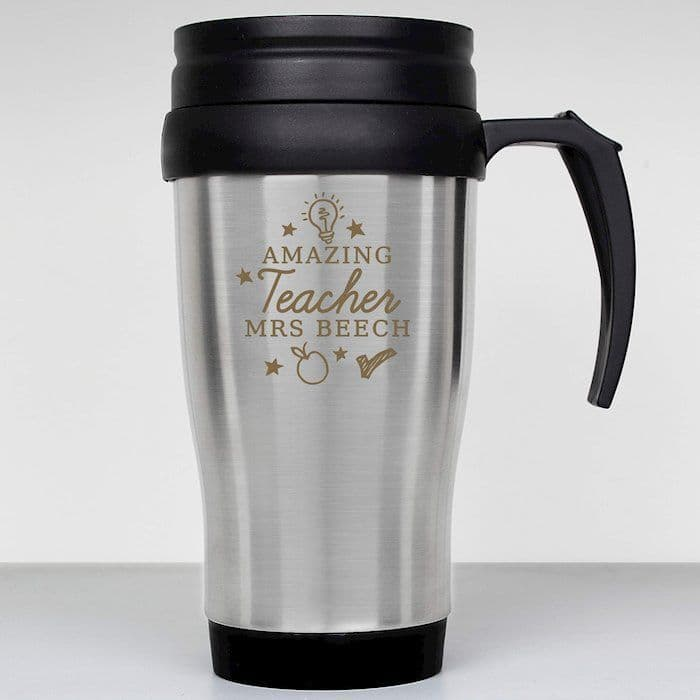 Personalised Amazing Teacher Travel Mug - ideal gift at the end of the school year for your favourite teacher!