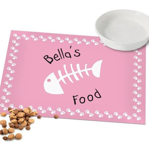 Pink Paw Print Cat Placemat