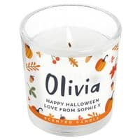 Personalised Pumpkin Scented Jar Candle - ideal decoration gift for the 31st October