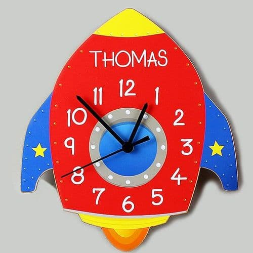Rocket Shape Wooden Clock