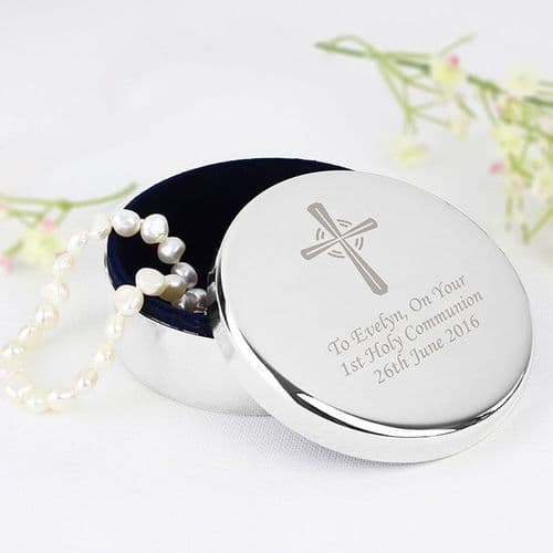 Silver Cross Trinket Box - Ideal For Rosary Beads