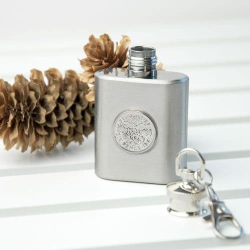 Silver Plated Lucky Sixpence Mini Hip Flask