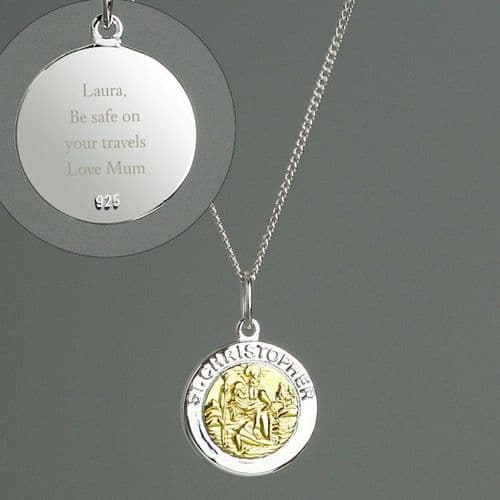 Sterling Silver & 9ct Gold St. Christopher Necklace