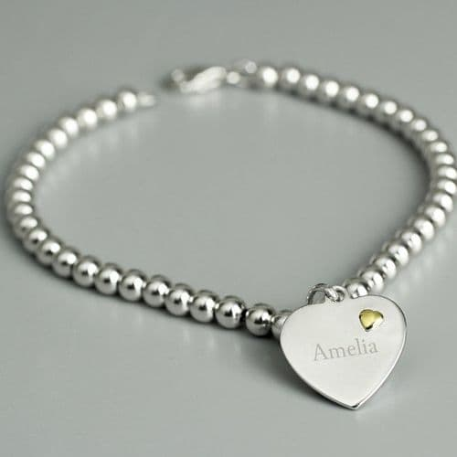 Sterling Silver and 9ct Gold Heart Bracelet