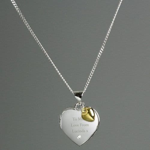 Sterling Silver Heart Locket Necklace with Diamond and 9ct Gold Charm