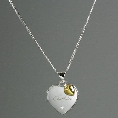 Sterling Silver Heart Name Locket Necklace with Diamond and 9ct Gold Charm