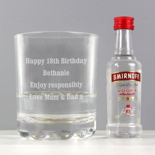 Tumbler and Smirnoff Vodka Miniature Set