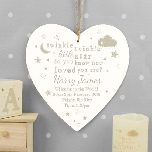 Twinkle Twinkle Large Wooden Heart Decoration