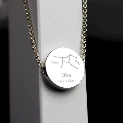 Virgo Zodiac Star Sign Silver Tone Necklace (August 23rd - September 22nd)
