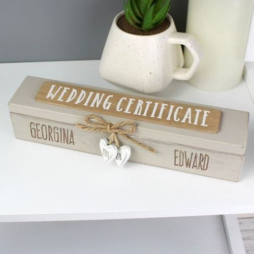 Wooden Wedding Certificate Holder