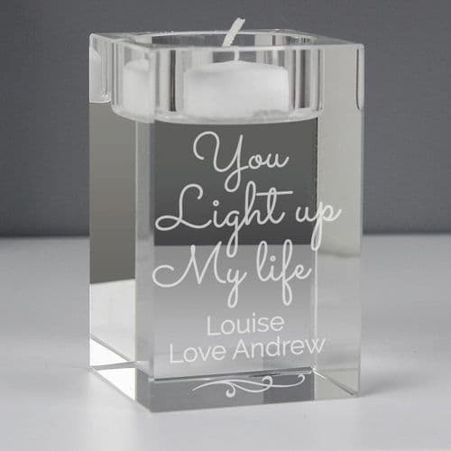 You Light Up My Life Glass Tea Light Holder