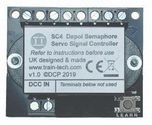 Train Tech SC4 DCC Signal Controller for two Dapol Servo Semaphores (OO or O)