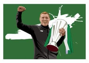 Neil Lennon Prints 9 in a Row (Green Background)