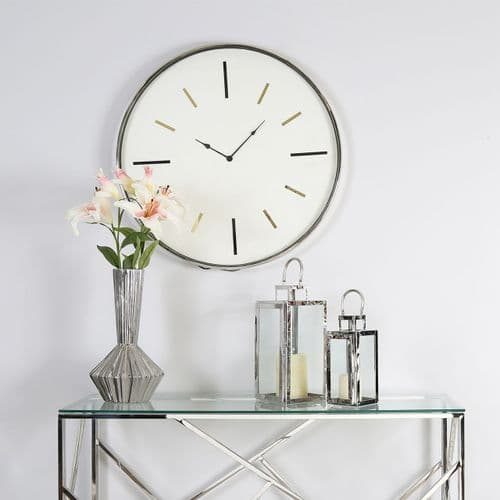 75cm Chrome Round Wall Clock - White Face