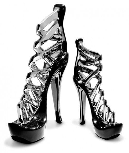 Black and Silver Stiletto Shoe
