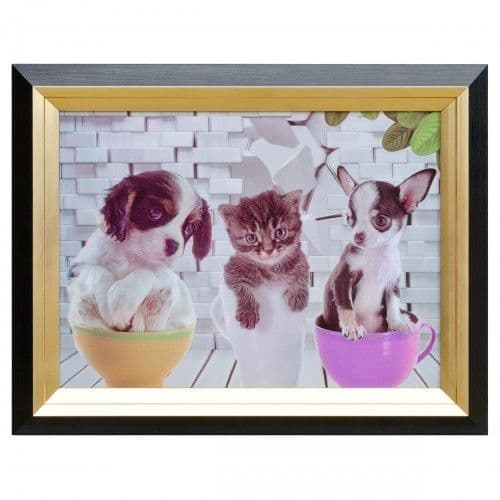 Cats and Dogs Tea Party Hologram Framed Picture