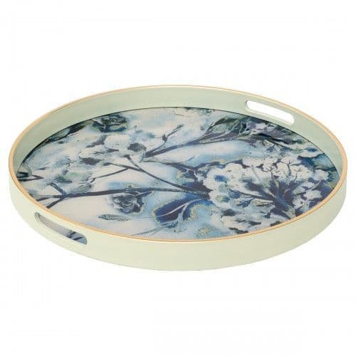Circular White Serving Tray With Flower Design