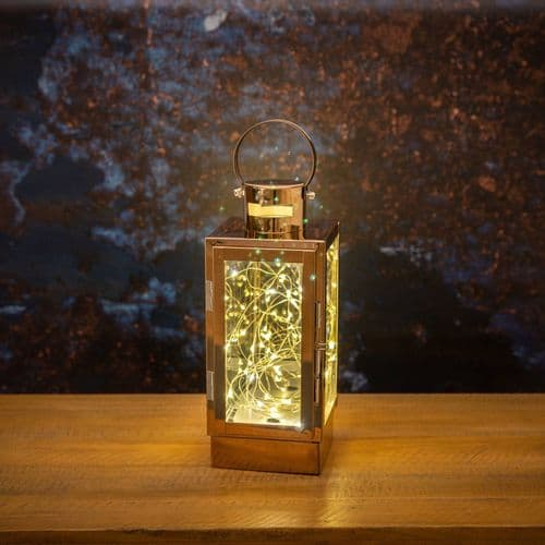 Copper Lantern with LED Micro Lights