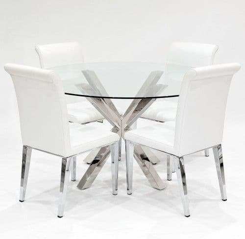 Crossly circular glass Dining Set with Kirkland White Dining Chairs