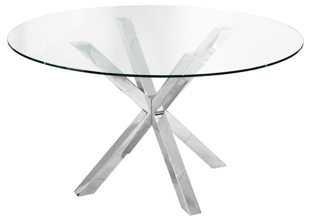 Crossly Round Dining Table - Chrome 137cm - Seats 6