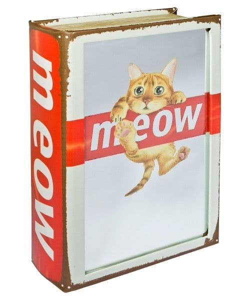 Mirrored Meow Cat Storage Book Box! Looks like a book!