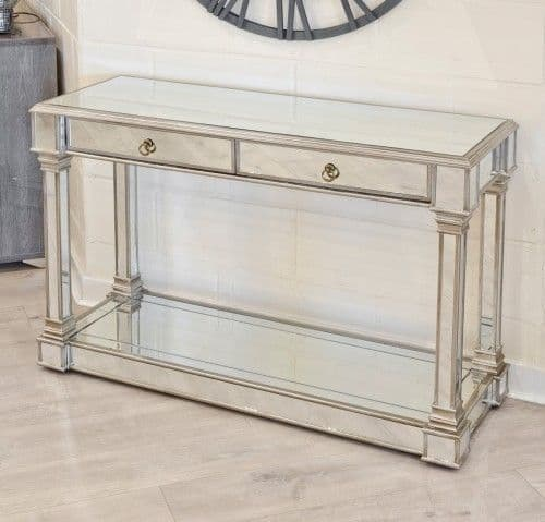 Mirrored Two Drawer Console Table