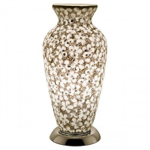 Mosaic Glass Vase Lamp - White and Silver Flower