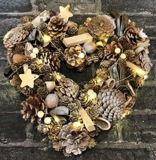 Natural Heart Wreath with LED lights
