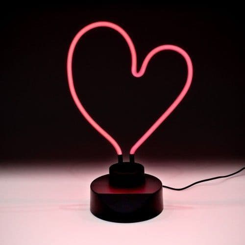 Neon Pink Heart Table Lamp