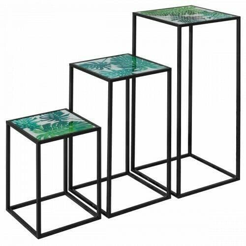 Nest of 3 Tall Tables - Green Leaf Design - Acrylic Top - Black Frame