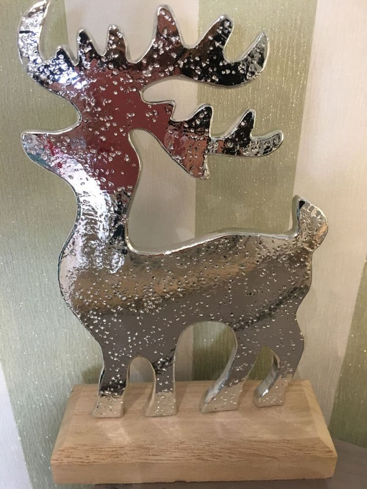 Silver Reindeer on Wooden Base - Table Decor