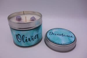 'Decadence' Highly Scented Candle Tin – can be personalised